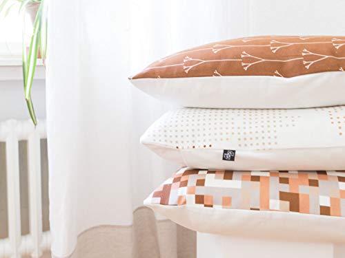 Drei Kissen im Set 50x50 cm aus Biobaumwolle beige, braun, weiß