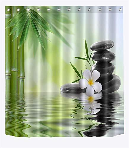 LB Spa Duschvorhang, Schwarze Steine, Weiße Orchideen, Bambus-Wasserbadvorhang 150 x 180 cm, wasserdichtes Anti-Schimmel-Polyestergewebe mit Haken