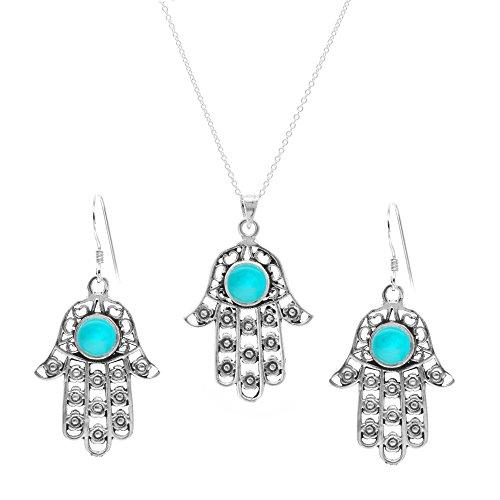 Silverly Set Mujeres Collar Y Pendientes en Plata de Ley .925 Turquesa Simulada Mano Fátima, 46 cm