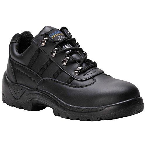 Portwest S1P Trainer Shoes Steel Midsole Buffalo Leather Chemical-resist Black Size 9 Ref FW25SIZE9