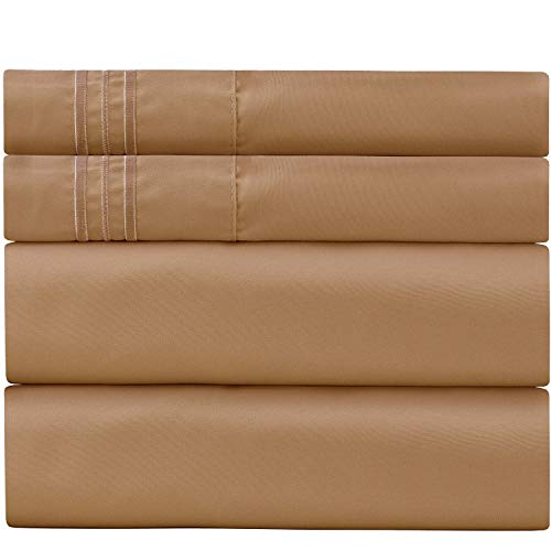 Sweet Sheets Bed Sheet Set Queen Tan - 1800 Double Brushed Microfiber Bedding - Wrinkle, Fade, Stain Resistant - Soft and Durable - All Season - 4 Piece (Queen, Tan)