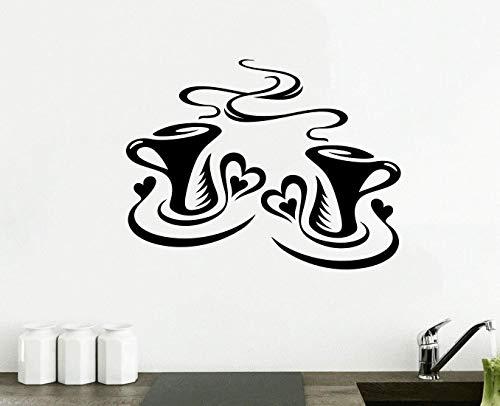 Wall4stickers® 2X Tazas de Café Cocina Pared Té Etiqueta Vinilo Decal Arte Restaurante Pub Decoración Amor
