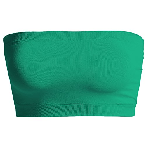 TheMogan Women's Seamless Bandeau Bra Top Stretch Tube Bralette Kelly Green One Size