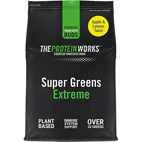 THE PROTEIN WORKS | Super Greens Extreme Powder | 20 Different Greens | Helps Protect Your Immune System | Vegan, Low Sugar | Apple & Lemon Twist | 1 kg