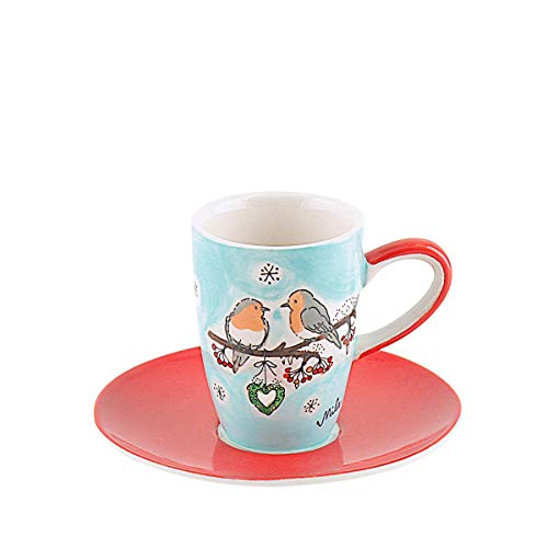 Mila Keramik Espresso-Tasse mit Untere, Wintervögel | MI-88158 | 4045303881587