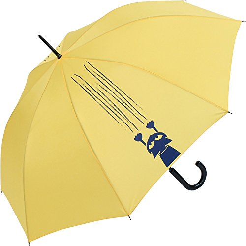 Stockschirm für Damen und Herren mit Automatik - Bedruckt Katzen und Krallen - gelb