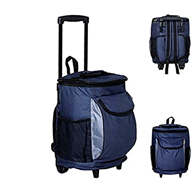 #1 Best 40-Can Insulated Cooler Bag on Wheels & Telescopic Handle & Backpack Beach & Camp Extra Storage BPA Free, FDA Approved Zipper Pockets Collapsible Handle Travel Outdoor Carry On Luggage