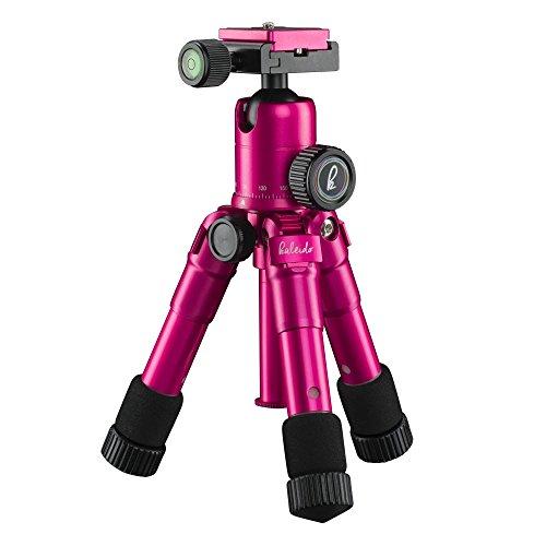 Mantona kaleido mini Foto-/Tisch- und Travelstativ (inkl. Kugelkopf mit Schnellwechselplatte und Transporttasche) glamour pink metallic