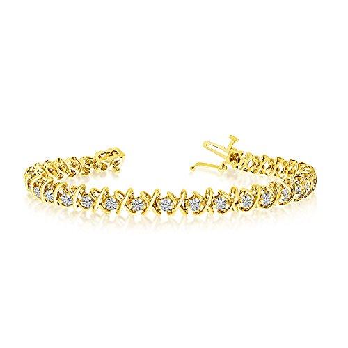 '14K oro giallo X & O 4.00ctw rotondo Diamante Bracciale