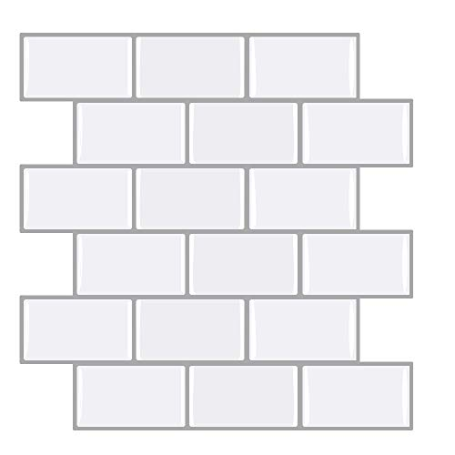 Ecoart 6 Piezas Decorativos Adhesivos Pegatinas de pared, azulejos adhesivos baño, Diseño de Ladrillo Blanco, Efecto 3d, Cenefa Autoadhesivo, Para Baño y Cocina (blanco leche con fondo gris)