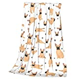 Salltion Blanket Yoga French Bulldog Throw Blankets Soft Fleece Blankets for Couch Bed Travel Camping,Lightweight Cozy Plush Blankets Queen Size for Kid Adult 50