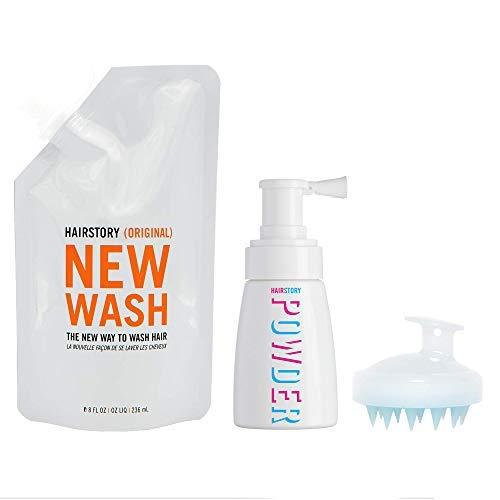 Hairstory KIT New Wash: Limpiador capilar 8 oz (236,5 ml aproximadamente) + polvos capilares 1,35 oz (40 ml aproximadamente) + cepillo para limpieza y acondicionamiento del cuero cabelludo