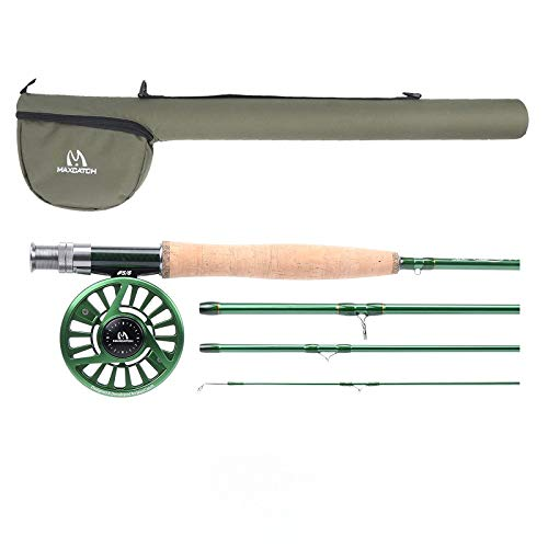Maxcatch Premier Fly Fishing Rod with Avid Fly Reel (Includes Rod case) 3/4,5/6,7/8wt (Model03, 9ft 8wt+7/8wt)