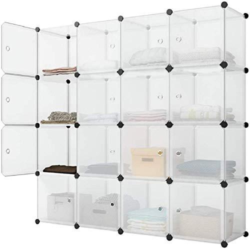 Asukale Armario de plástico, sistema de estanterías, portátil, sin tornillos, 16 compartimentos, con puertas, color blanco