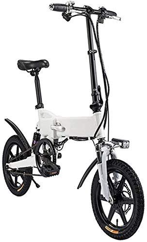 RDJM Bici electrica Bicicleta eléctrica de 14 Pulgadas de Aluminio Bicicleta eléctrica con Pedal for Adultos y Adolescentes, 16' Bicicleta eléctrica con 36V / 5.2AH de Iones de Litio, Carga máxima de