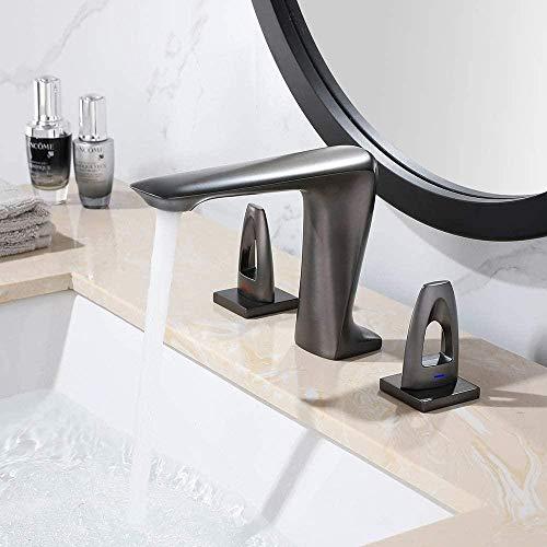 El grifo viene con un fregadero de fondo de cobre completo dividido en cobre con un interruptor doble para agua fría y caliente, un lavabo de baño de tres orificios con trefilado, ahorr