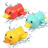 NEWSTYLE Badespielzeug Baby, 3 Baby Bad Spielzeug Ente, badewannen Spielzeug Mechanik zum Aufziehen, Schimmel-frei Pool Spielzeug, Uhrwerk Ente Schwimmen Badewanne Spielzeug Für Kleinkinder