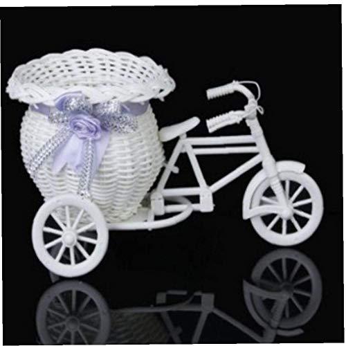 AYRSJCL Plastic Weiß Dreirad Fahrrad-Design-Blumen-Korb-Behälter für Blumen-Anlage Hochzeit Dekoration Macetas Grandes para Plantas