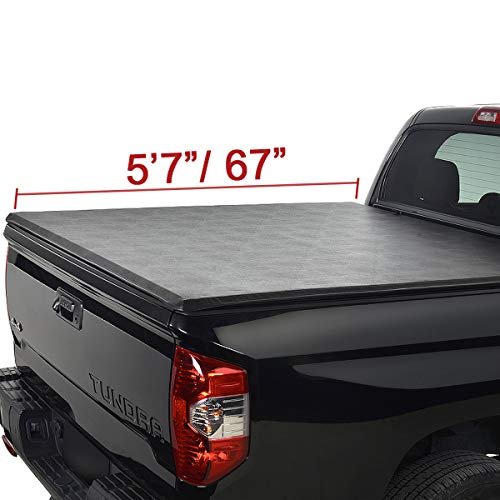 MGPRO 5.7ft 67in. Lock & Roll up Soft Truck Bed Waterproof Tonneau Cover Assembly +Rails+Install Instruction+3 Year Warranty For 2019 2020 Ram 1500