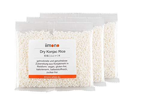 iimono Dry Konjac Rice - kalorienarmer & kohlenhydratarmer Konjak-Reis (3 x 200g)