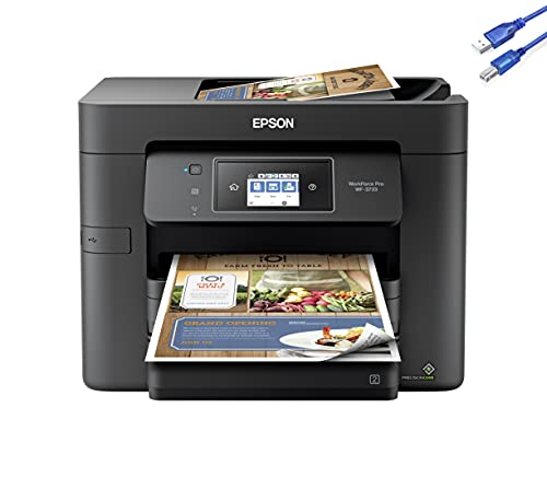 """2021 Epson Workforce Pro WF-3733 Wireless All-in-One Color Inkjet Printer Home Office, Print Scan Copy Fax, 20 ppm, 500-Sheet, Auto 2-Sided Printing, 2.7"""" Touchscreen, 35-Sheet ADF+Ghost Manta Bundle"""