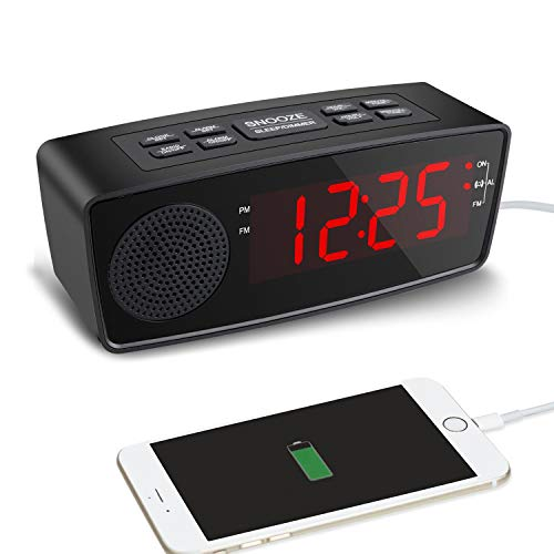 Clock Radio, Alarm Clock with FM Radio, USB Charging Ports for Bedrooms (Red)