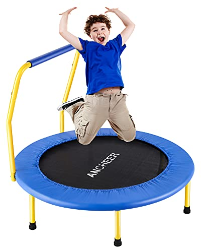 """36"""" Foldable Mini Trampoline, ANCHEER Rebounder Trampoline for Kids, Fitness Rebounder with Foam Handle, Exercise Bounce, Indoor/Outdoor Garden Workout"""