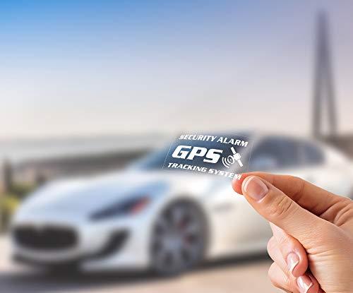 10 Adesivi Antifurto Satellitare GPS, Trasparenti, Interno Vetro, per Auto, Camion, etc. Testo: Security Alarm GPS Tracking System, Misura Media: 7 x 4 cm - 10 pz.