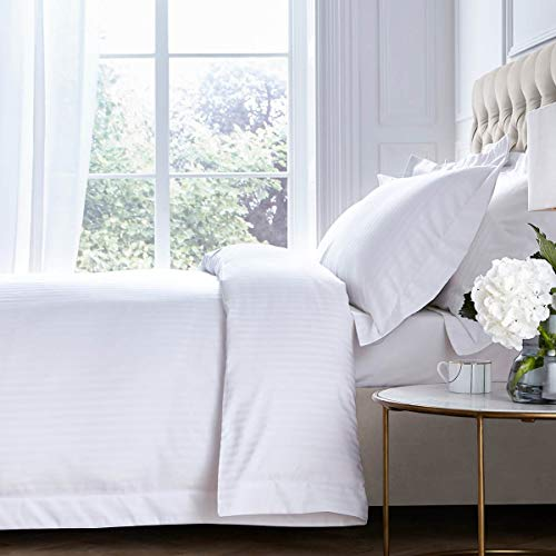 DUSK   Pimlico Duvet Cover   800 Thread Count   100% Egyptian Cotton   Luxurious Premium Hotel Quality Duvet Cover With Satin Stripe Finish   White   King Size