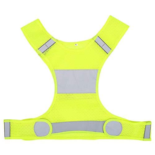 Chaleco de seguridad, Chaleco reflectante ajustable de alta visibilidad de talla L, Ropa de seguridad para ciclismo de carrera nocturna