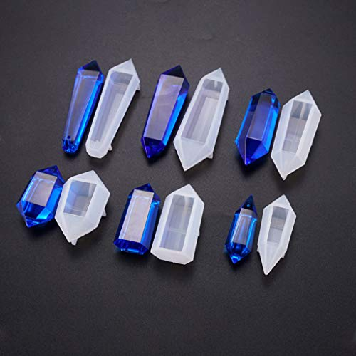 Siwetg 6 stuks slinger siliconen gietvormen, kegels epoxyhars vormen, hars steen slinger kristal kolom hanger silicone uv-hars vorm sieraden gereedschappen