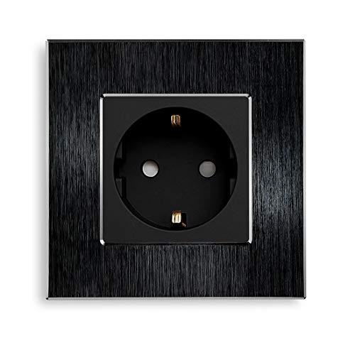 BSEED Aluminium Gebürstet Matt-schwarz Einwandige Steckdose 16 Ampere 240 V Wechselstrom Nach EU-Standard 86 * 86mm