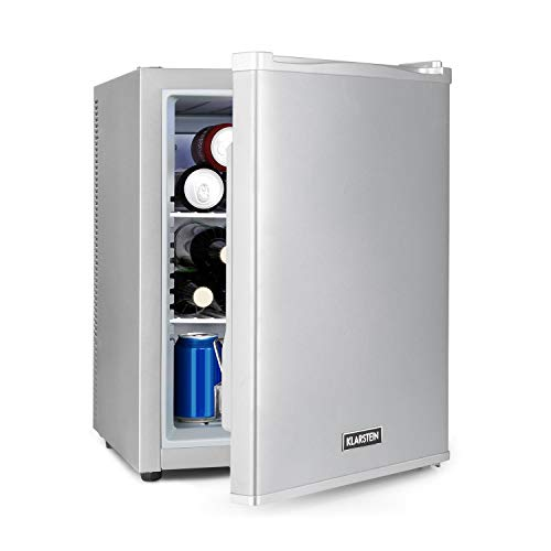 Klarstein Happy Hour - Minibar, Mininevera, nevera para bebidas, nevera de compresor, temperatura de 5 a 15 °C, eficiencia energética G, silencioso: 0 dB, luz LED, 37 L de volumen, plateado