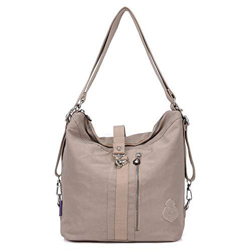 Outreo Bolso Bandolera Mujer Bolsos de Moda Impermeable Mochilas Bolsas de Viaje Sport Messenger Bag Bolsos Baratos Mano para Escolares Tablet Nylon (Beige one)