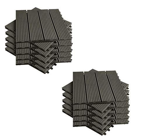 Terrassen-Fliese WPC Kunststoff, 2m² Garten klick-Fliese, Bodenbelag für Terrasse Balkon, 30x30cm mit Stecksystem Grau