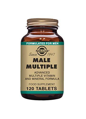Solgar | Male Múltiple Complejo Multivitamínico y Multimineral para el Hombre |Multinutriente | Con Vitaminas, Minerales y Licopeno | 120 Comprimidos | Apto para Veganos