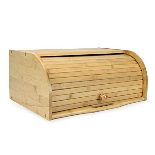Bamboo Bread Bin | Roll-Top Bread Box | Wooden Kitchen Storage Bin | Bread Container With Roll-Top Lid |M&W