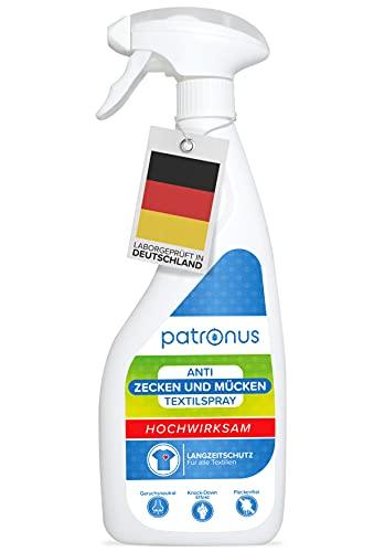 Patronus Kleidung-Spray gegen Zecken und Mücken 500ml - Insektenabwehr-Mittel als Zeckenschutz und Mückenschutz - zum Auftragen auf Textilien - mit Sofortwirkung und Langzeitschutz