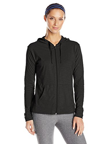 Hanes Women's Jersey Full Zip Hoodie, Black, Small