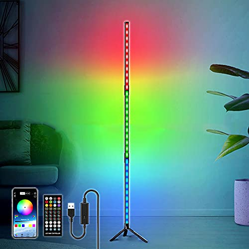 Pavimento Lampada LED RGB Dimmable Con Telecomando E Controllo App, Cambia Colore Moderno Luminosità Piantana Commutabile Lampada Soggiorno Ambientali Piantane Luce, Lampada 3 Sezione