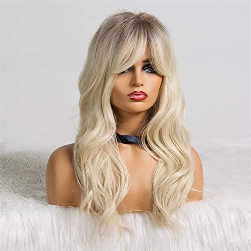 AQWESD Perruque Avant en Dentelle, Ombre Noir Brun Blonde Longue Ligne Droite Droite Perruque Synthétique pour Les Femmes Partie Cosplay LC2151