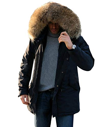 Aox Men's Casual Faux Fur Hood Thicken Winter Coat Lightweight Snow Jacket Parka (S, Brown Black)