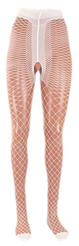 Fibrotex Damen Strumpfhose 30 DEN Netz mit T-Band, Farben alle:00 weiß, Größe:S (36/38)