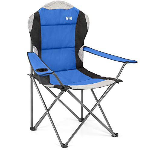 High Back Folding Camping Chair, Luxury Padded Seat, Heavy Duty Tubular Steel, Cup Holder Armrest, Lightweight Portable, Outdoor Garden, Carry Bag