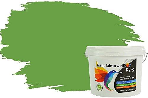 RyFo Colors Bunte Wandfarbe Manufakturweiß Schilfgrün 3l - weitere Grün Farbtöne und Größen erhältlich, Deckkraft Klasse 1, Nassabrieb Klasse 1