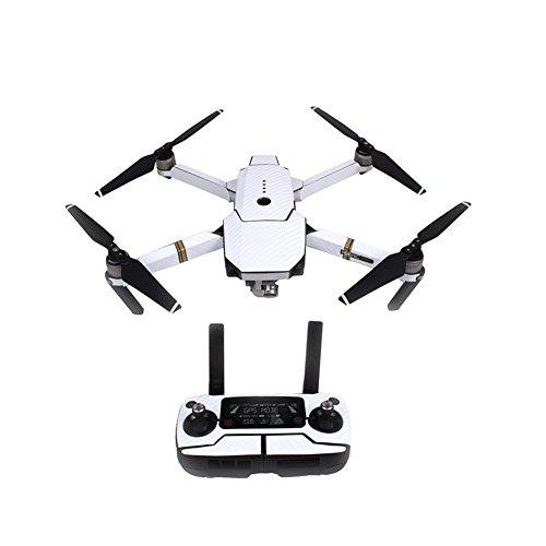 Amyove Adesivo Drone,Moda Adesivi in fibra di carbonio imformeabile RC Quadcopter Skin Decals Wrap for DJI Mavic Pro Drone White