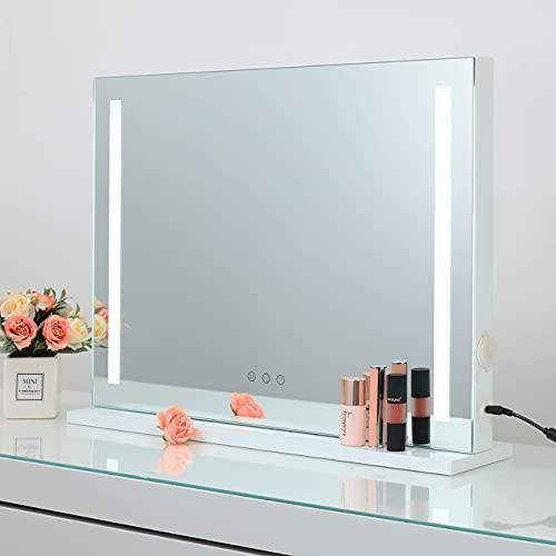 Hollywood-Stil Tischspiegel Speigel mit Beleuchtung Kosmetikspiegel Schminkspiegel Theaterspiegel mit Licht 3 Farbtemperatur dimmbare LED