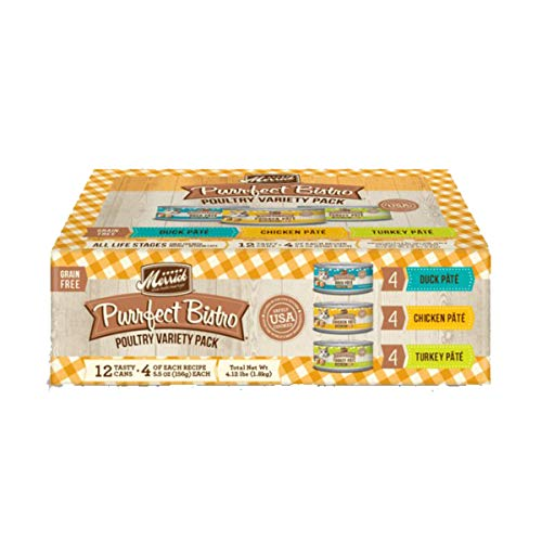 Merrick 80001 Purrfect Bistro Grain Free Pate Wet Cat Food Poultry Variety Pack (Case of 12)