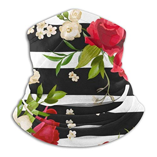 Wteqofy Face Mask Bandana Black White Stripes Red Rose Flowers Ear Face Mask for Men Women, Dust-Free Neck Warmer Cover Sportswear for Cycling, Cold Weather, Ski, Multifunctional Shield Scarf