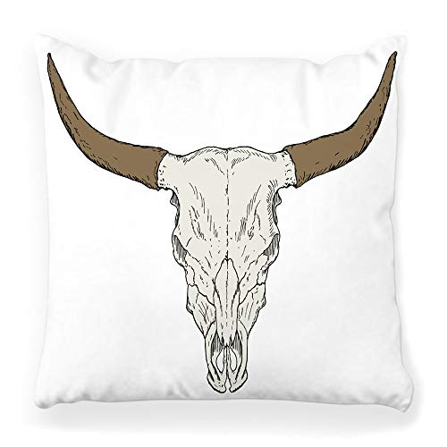 Decorative Throw Pillow Cover Square 16x16 Bull Skull Animal Art Bone Buffalo Cattle Cow Drawing Head Horn Isolated Skeleton Sketch Symbol Tattoo Home Decor Zippered Pillowcase